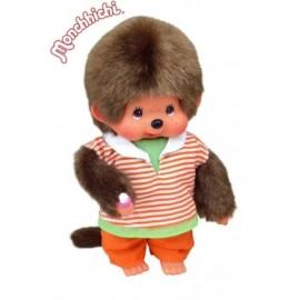 peluche kiki Monchhichi 20cm Orange Trouser Boy garçon pantalon orange peluche