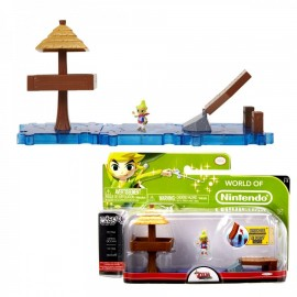 WORLD OF NINTENDO Playset Micro Figure Legend of Zelda The Wind Waker - Link + ILE DE L'AURORE