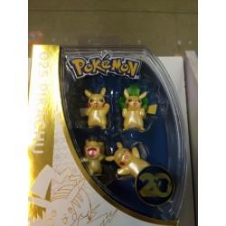 Pokemon figurine pikachu retro pack 4 pièces coffret exclusif 20th anniversaire