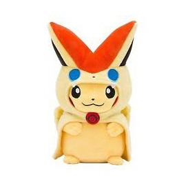 OFFICIEL POKEMON CENTER PELUCHE PLUSH PIKACHU PONCHO VICTINI 21 CM